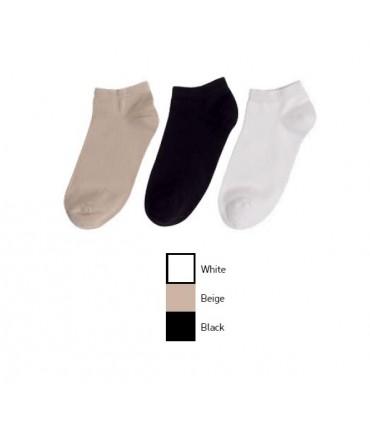 Γυναικεία Αθλητική Κοντή Κάλτσα MeWe - 3 Ζευγάρια (Μαύρο-Λευκό-Μπεζ)