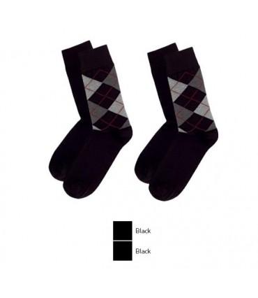 Ανδρική Μακριά Κάλτσα MeWe - 2 Ζευγάρια (1 Μαύρο Καρό & 1 Μαύρο)