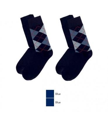 Ανδρική Μακριά Κάλτσα MeWe Μπλε Καρό - 2 Ζευγάρια